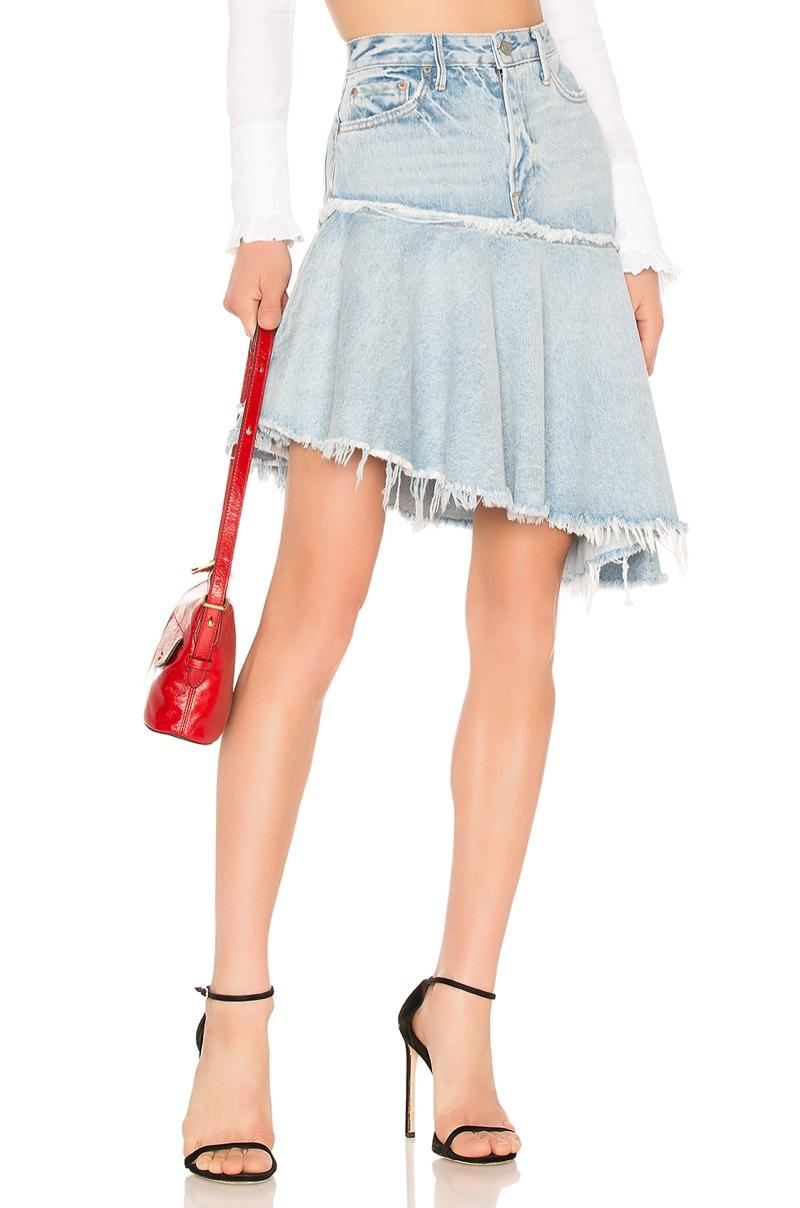 GRLFRND Monica Asymmetrical Ruffle Skirt $198