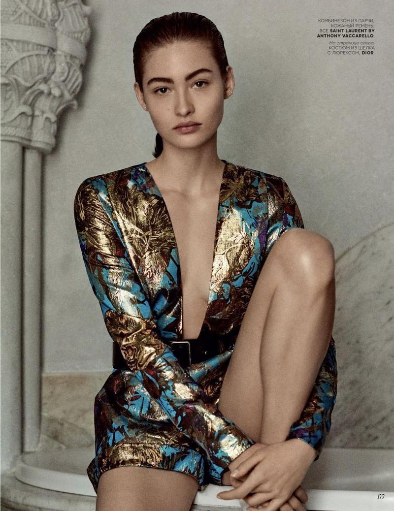 Grace Elizabeth Wears Effortlessly Luxe Looks for Vogue Russia