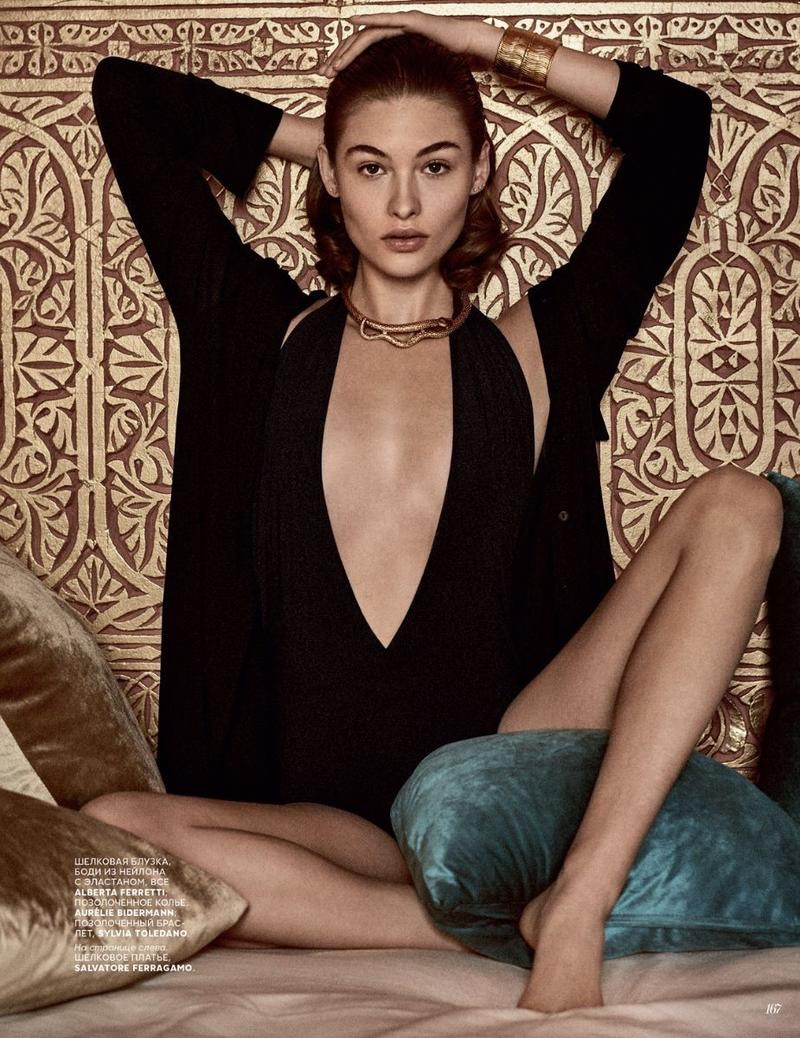 Grace Elizabeth Wears Effortlessly Luxe Looks for Vogue Russia