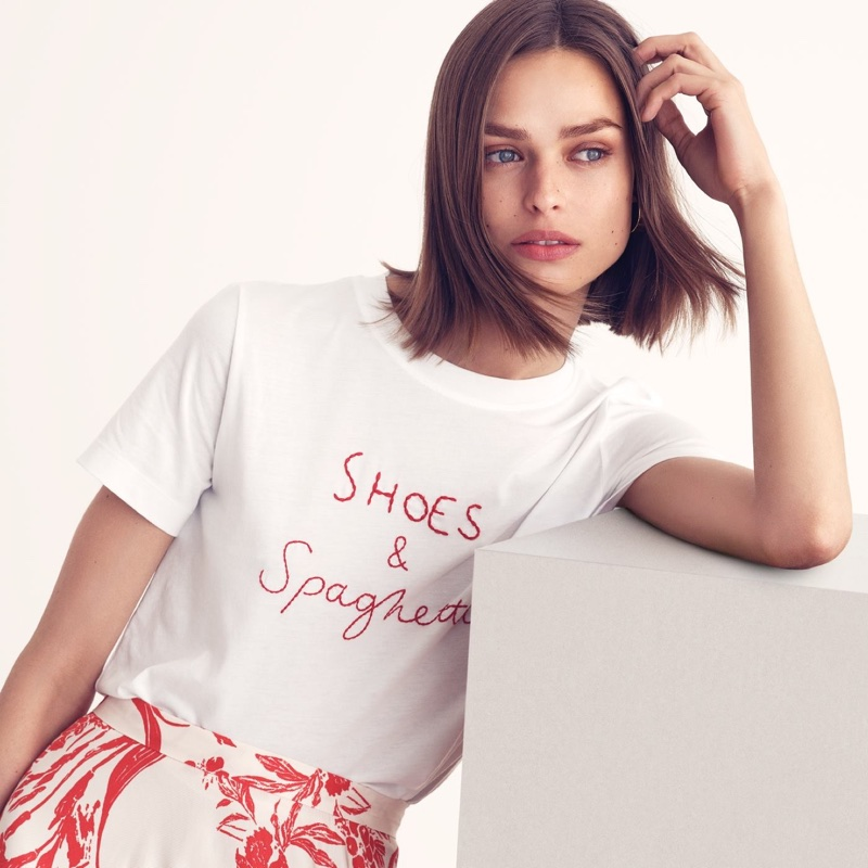 H&M T-Shirt with Embroidery and Patterned Skirt