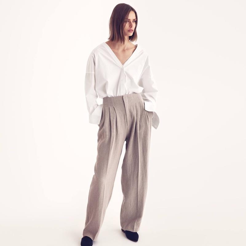 H&M V-Neck Cotton Shirt, Wide-Cut Linen Pants and Mules