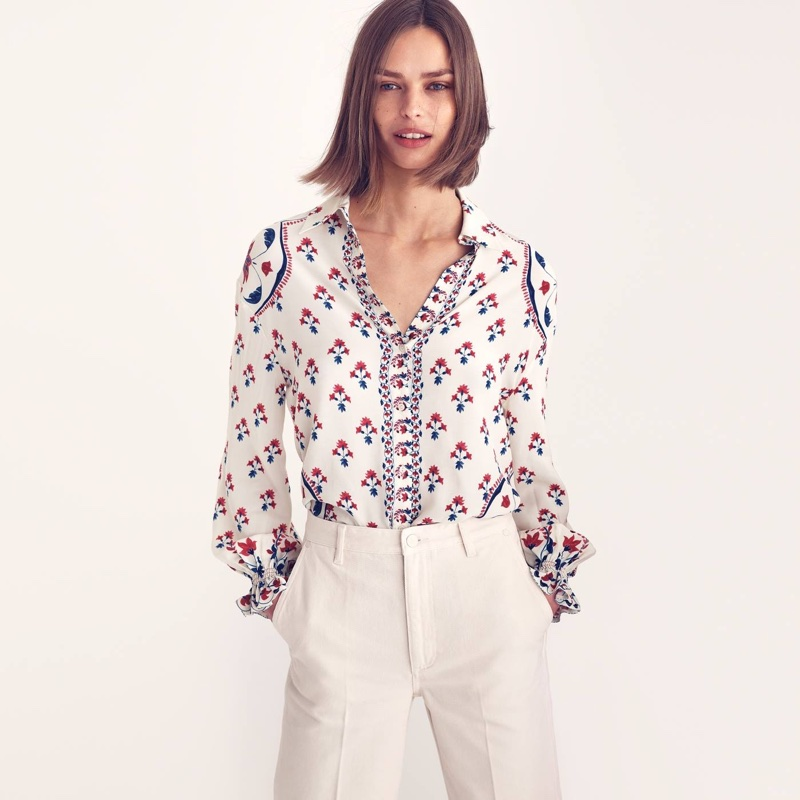 H&M Patterned Blouse and Wide-Cut Jeans