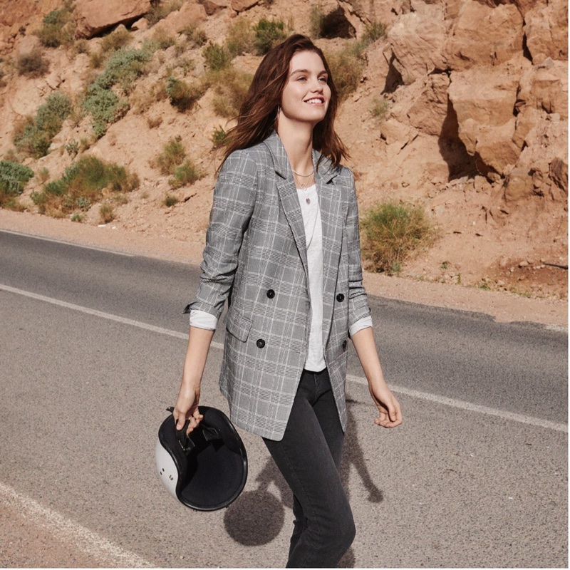H&M Double-Breasted Jacket, Linen Scoop-Neck Top and Pants Skinny Fit