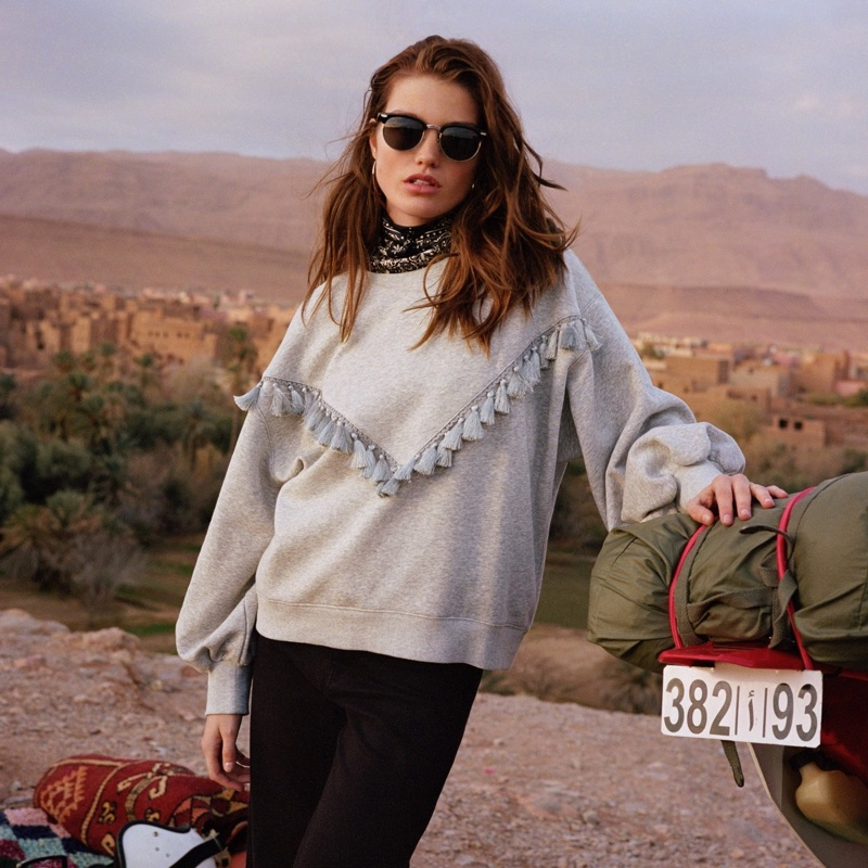 H&M Sweatshirt with Decorations, Wide-Cut Twill Pants, Sunglasses and Scarf/Hairband