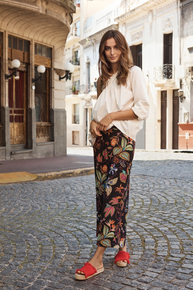 Andreea Diaconu poses in Buenos Aires, Argentina for H&M's spring 2018 campaign