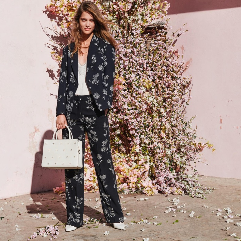 H&M Patterned Jacket, Satin and Lace Camisole Top, Wide-Cut Pants, Pumps with Ties and Appliquéd Handbag