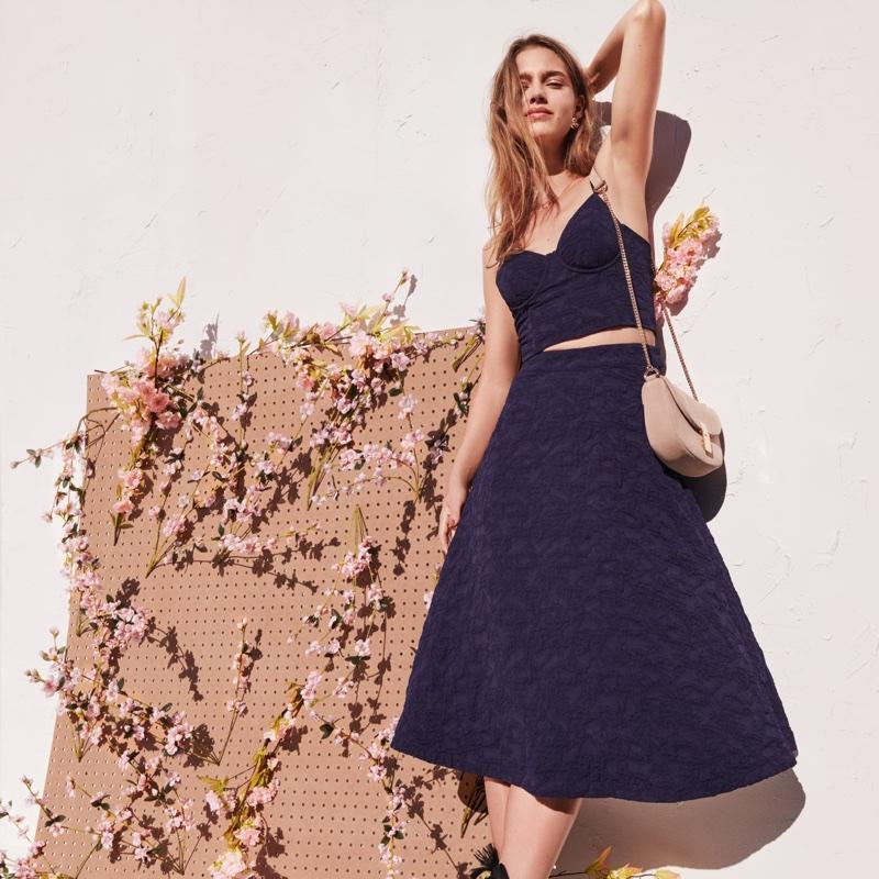 H&M Jacquard-Weave Bustier, Skirt and Suede Shoulder Bag