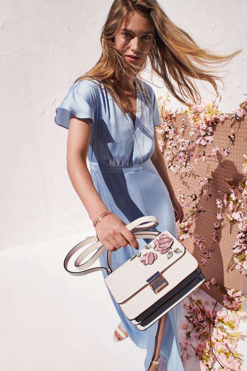 H&M Long Satin Dress, Shoulder Bag, Sandals and 2-Pack Necklaces