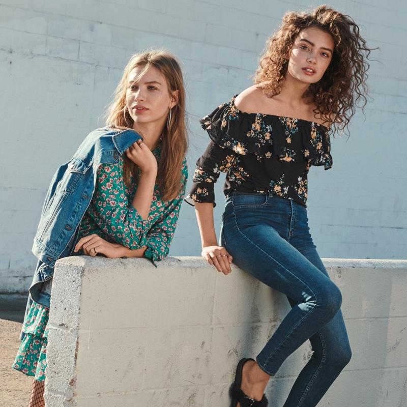 (Left) H&M Denim Jacket and Flounced Dress (Right) H&M Off-the-Shoulder Blouse