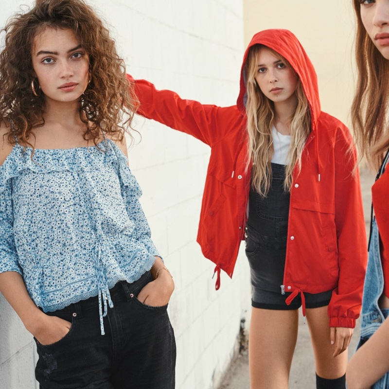 (Left) H&M Open-Shoulder Blouse and Knee-Length Denim Shorts (Right) H&M Hooded Jacket and Denim Bib Overall Shorts