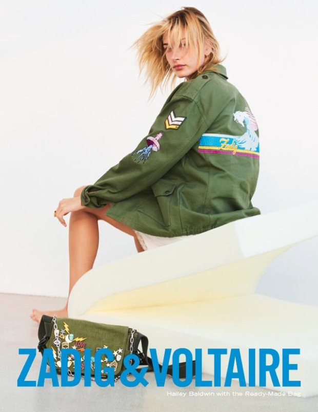 An image from Zadig & Voltaire's spring 2018 advertising campaign with Hailey Baldwin