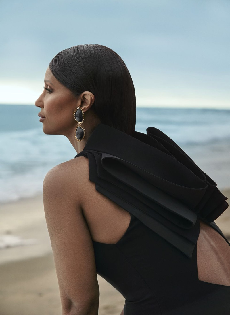 Iman Models Dreamy Gowns at the Beach for Harper's Bazaar