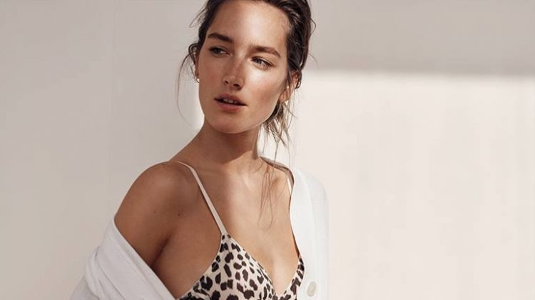 J. Crew Cropped Lightweight Cardigan Sweater, Leopard Print Underwire Bralette in Microfiber and Leopard Print Bikini in Microfiber