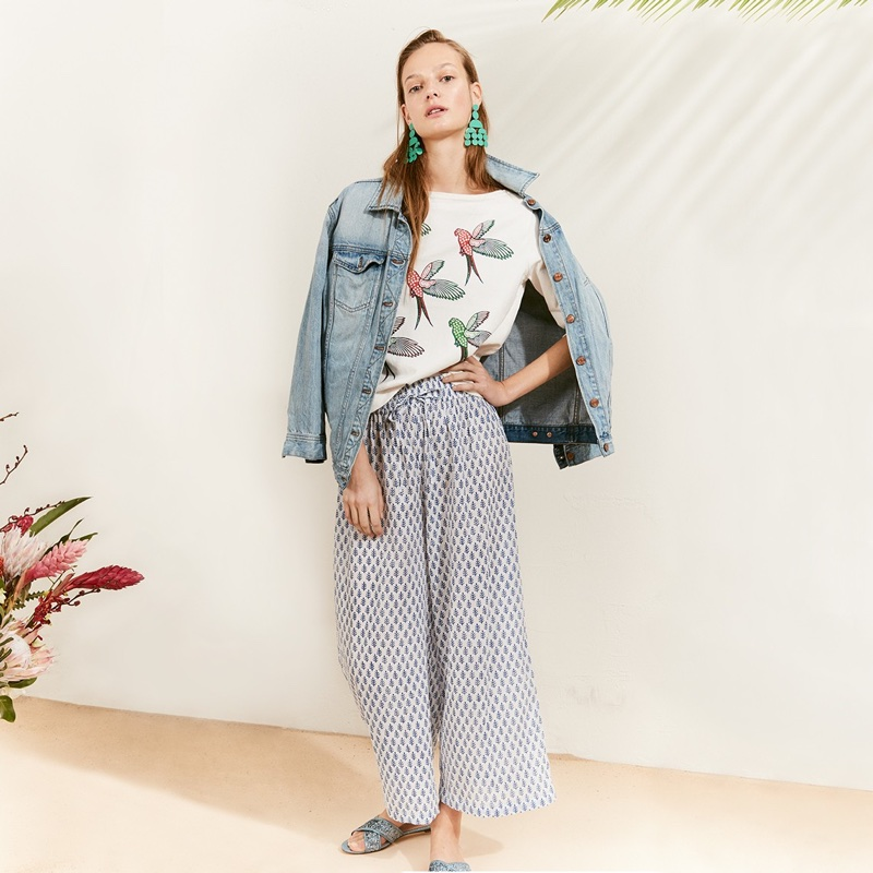 J. Crew Oversized Denim Jacket, SZ Blockprints for J. Crew Wide-Leg Pant in Blue Patti Leaf, Circle Statement Earrings and Glitter Cora Crisscross Sandals