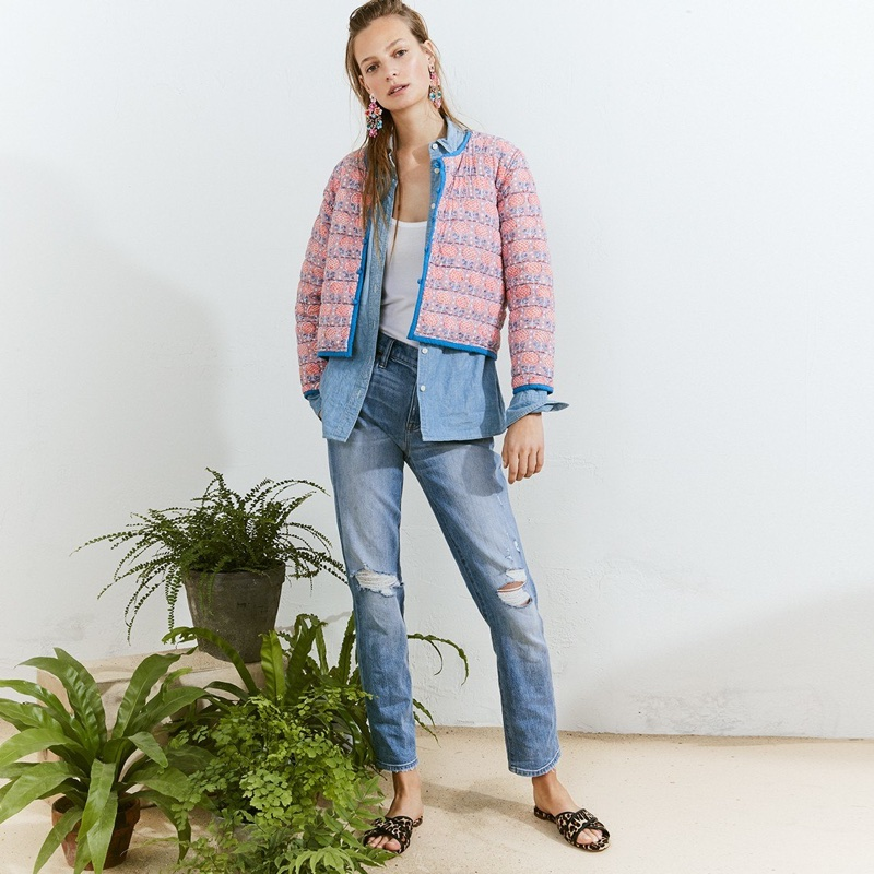 SZ Blockprints for J. Crew Reversible Quilted Jacket in Lilac Pineapple, Selvedge Chambray Shirt, 1993 Favorite Tank, Slim Boyfriend Jean in Cedar Wash and Leopard Cora Crisscross Sandals