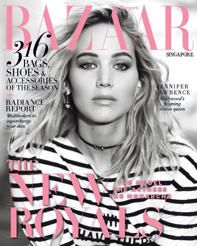 Jennifer Lawrence on Harper's Bazaar Singapore April 2018 Cover