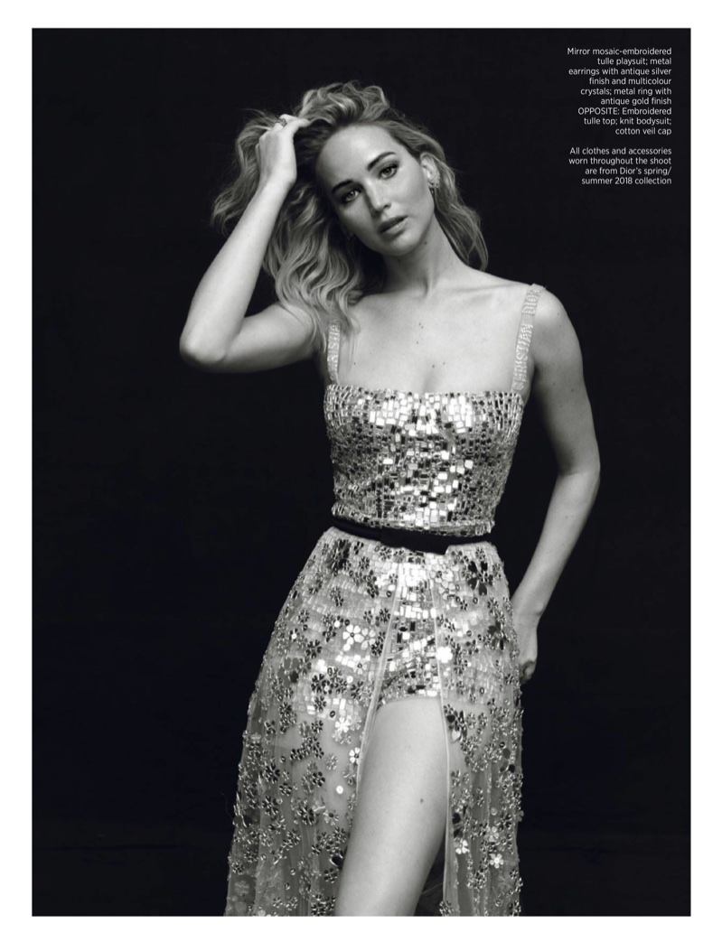 Photographed in black and white, Jennifer Lawrence wears Dior bodysuit and skirt