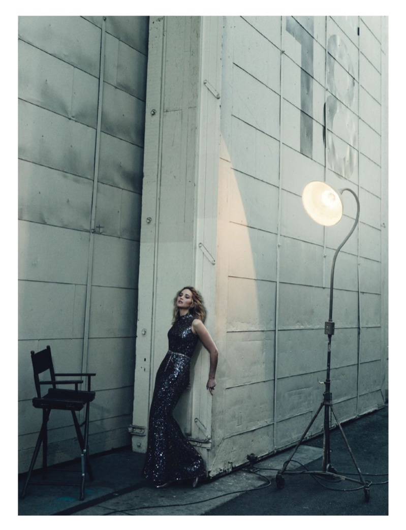Striking a pose, Jennifer Lawrence wears Dior crystal embellished gown