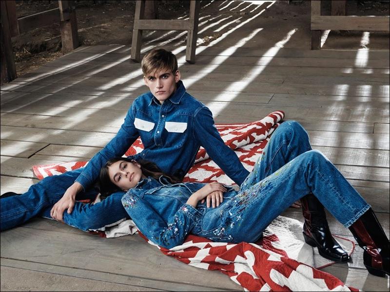 Kaia Gerber and Presley Gerber model denim in Calvin Klein Jeans #mycalvins spring 2018 campaign