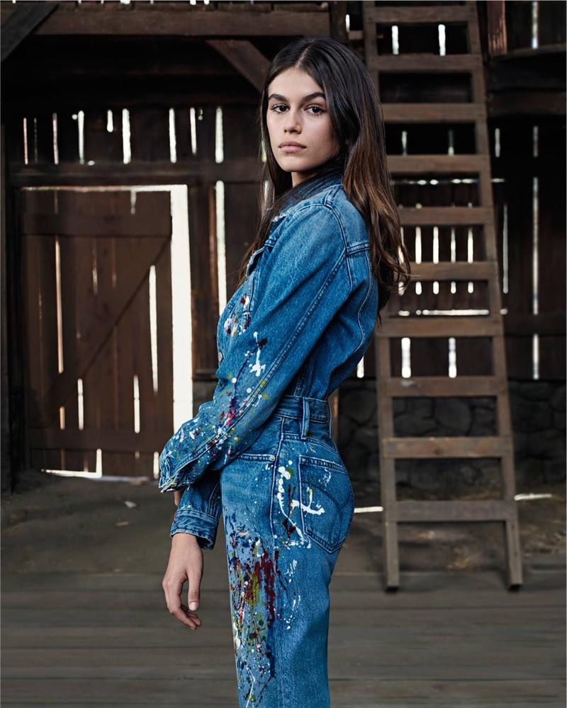 Model Kaia Gerber wears paint splattered denim in Calvin Klein Jeans #mycalvins Spring 2018 campaign
