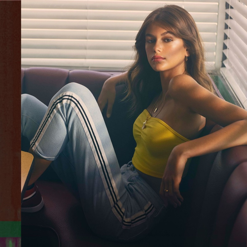 Kaia Gerber models tube top and pants for Penshoppe's spring-summer 2018 campaign