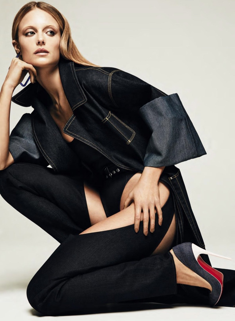 Kate Bock Poses in Dark Denim Looks for ELLE Canada