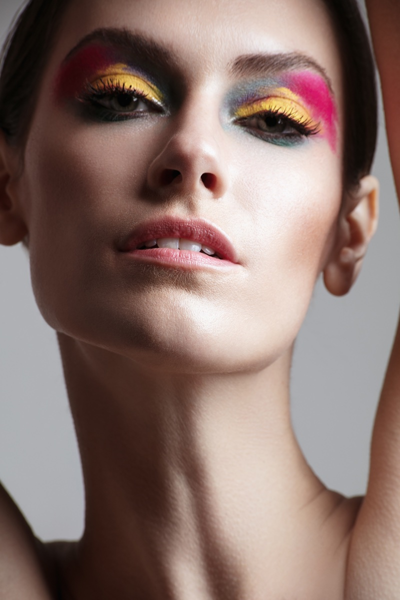 Model Kate Herman wears multi-colored eyeshadow. Photo: Jeff Tse