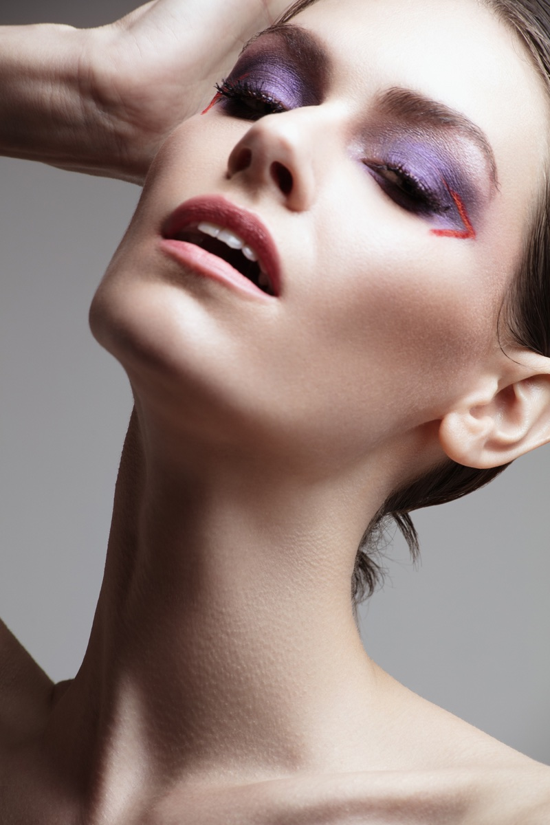Kate Herman wears purple eyeshadow. Photo: Jeff Tse