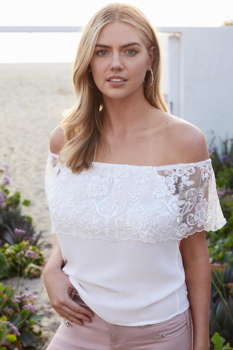 Kate Upton models off-the-shoulder top for Lipsy's summer 2018 campaign
