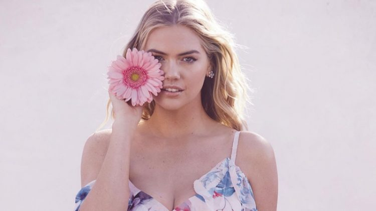 Posing in a floral print dress, Kate Upton fronts Lipsy's spring 2018 campaign
