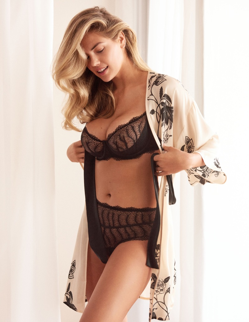 Supermodel Kate Upton poses in black lingerie for Yamamay's spring-summer 2018 campaign