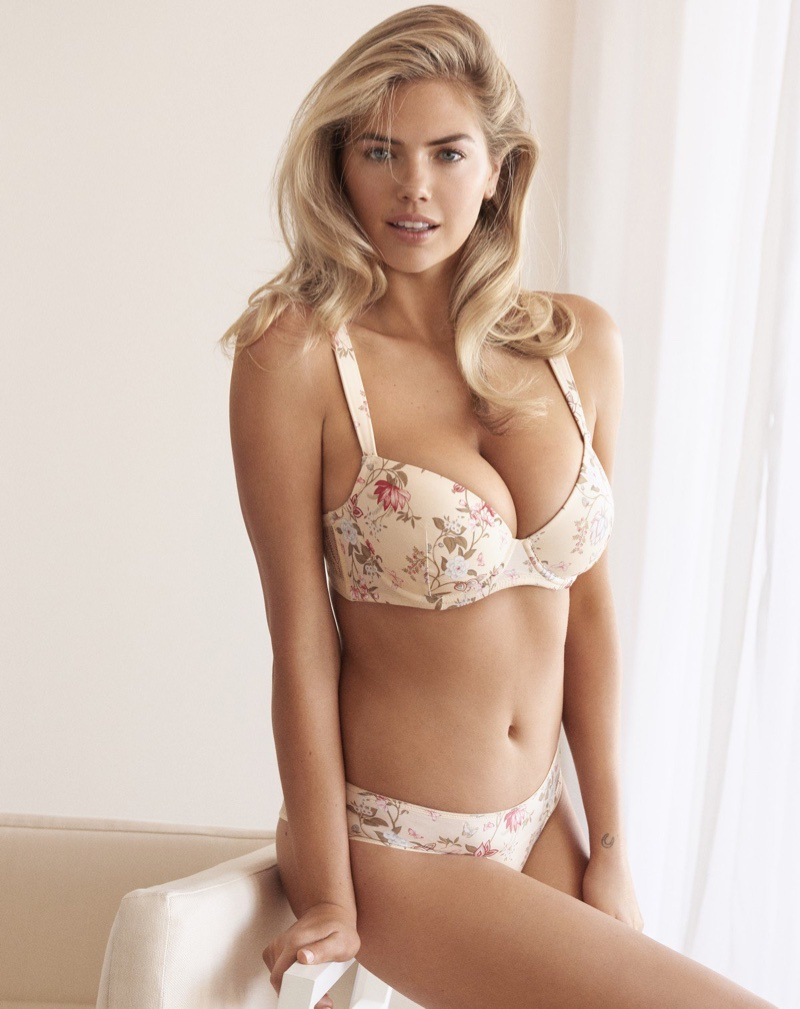 Model Kate Upton wears floral print lingerie for Yamamay's spring-summer 2018 campaign