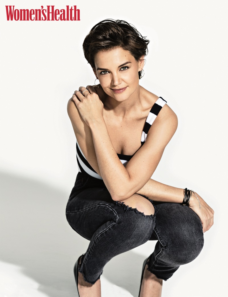 All smiles, Katie Holmes wears The Range top with Ficalora earrings