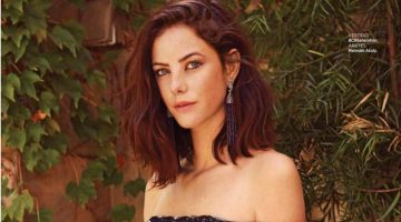 Kaya Scodelario poses in off-the-shoulder BCBGeneration dress with Mahrukh Akuly earrings