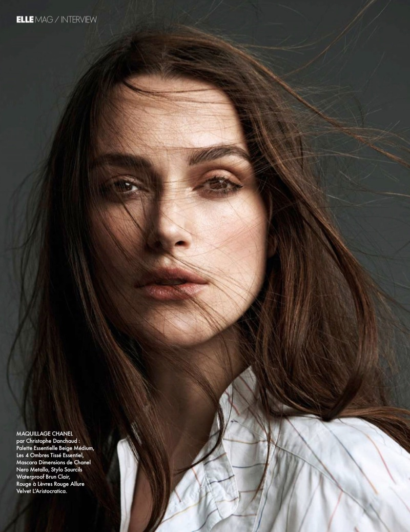Actress Keira Knightley wears a wavy hairstyle