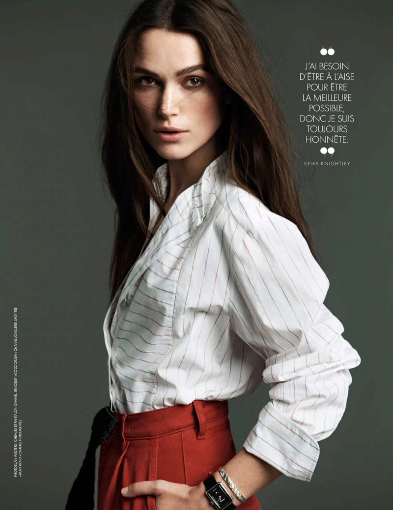 Keira Knightley poses in Chanel top and pants with Chanel jewelry