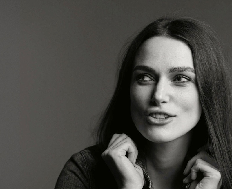 Photographed in black and white, Keira Knightley wears Weekend Max Mara jacket