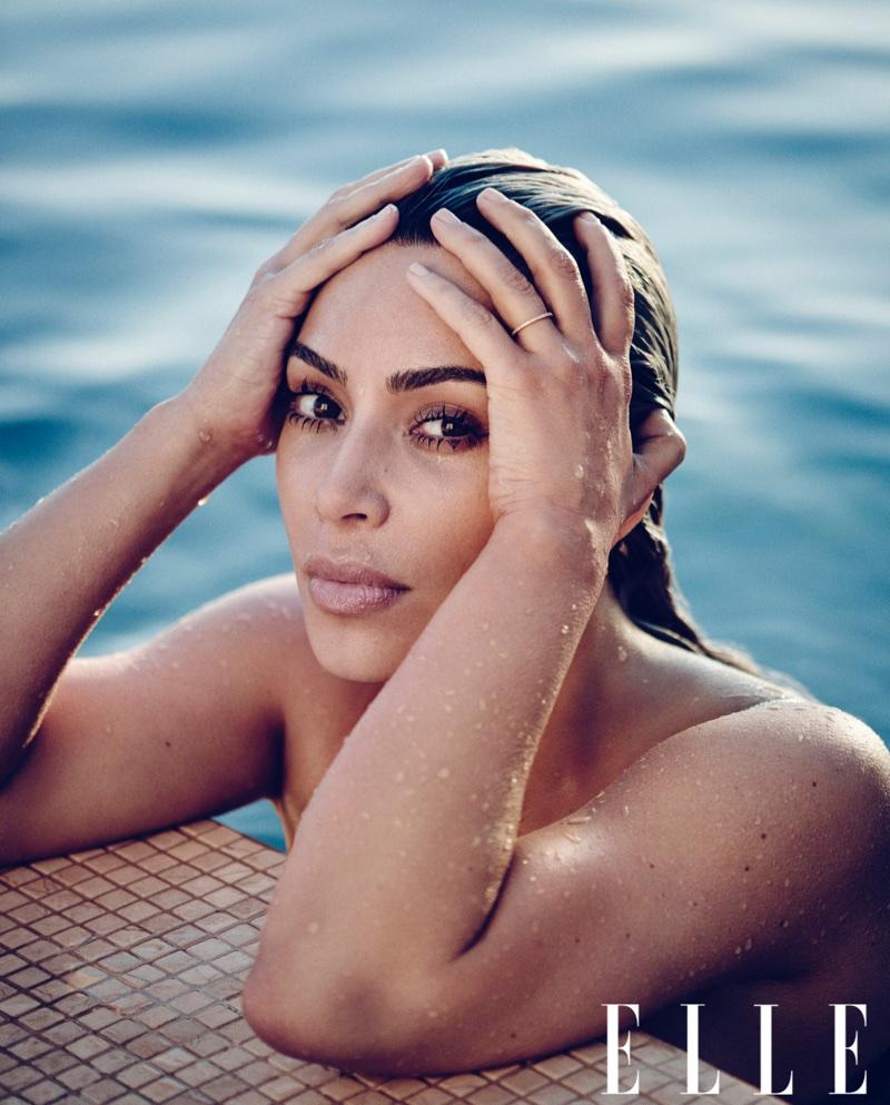 Posing In A Pool Kim Kardashian Poses For ELLE