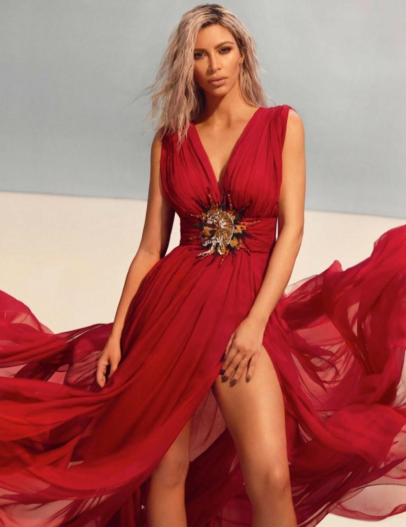Looking red-hot, Kim Kardashian models Philipp Plein dress