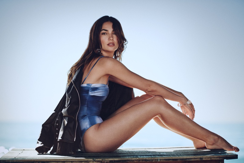 Lily Aldridge Poses in Trendy Beach Fashions for ELLE