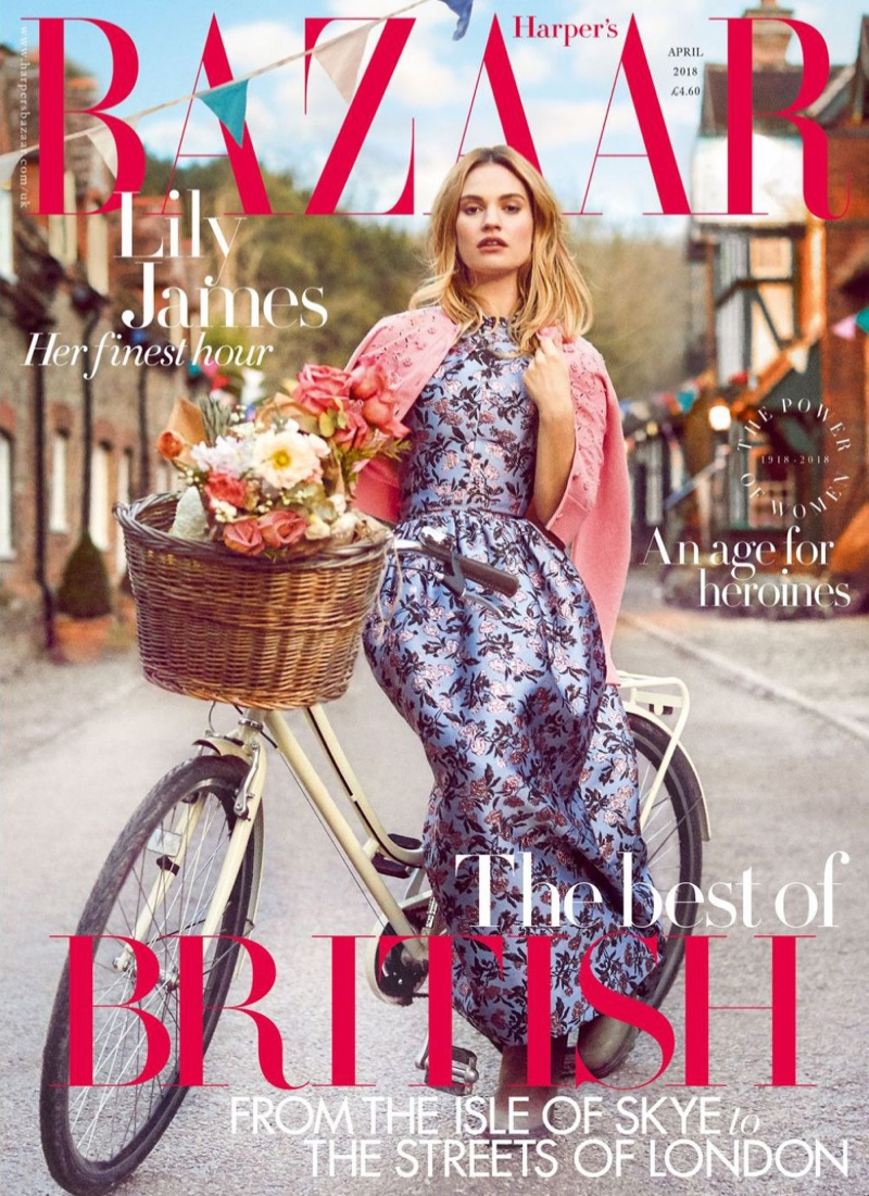 Lily James on Harper's Bazaar UK April 2018 Cover