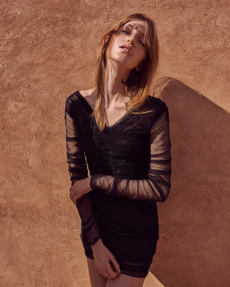 Linda Novotna Poses in All Black Looks for Harper's Bazaar Czech
