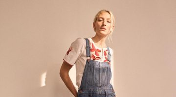 Madewell Embroidered Fable Top, Straight-Leg Overalls in Bernard Wash and The Gemma Mule in Leather