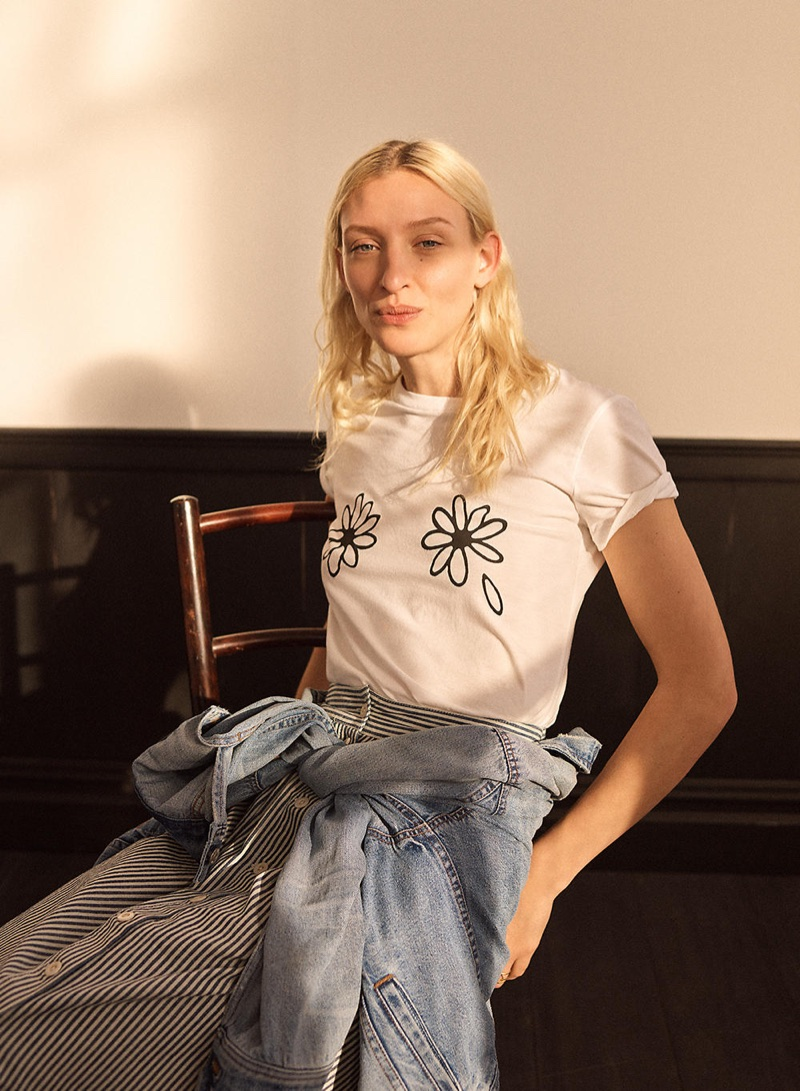 Madewell Daisies Tee, The Boxy-Crop Jean Jacket in Woodcourt Wash and Palisade Button-Front Midi Skirt in Chambray Stripe
