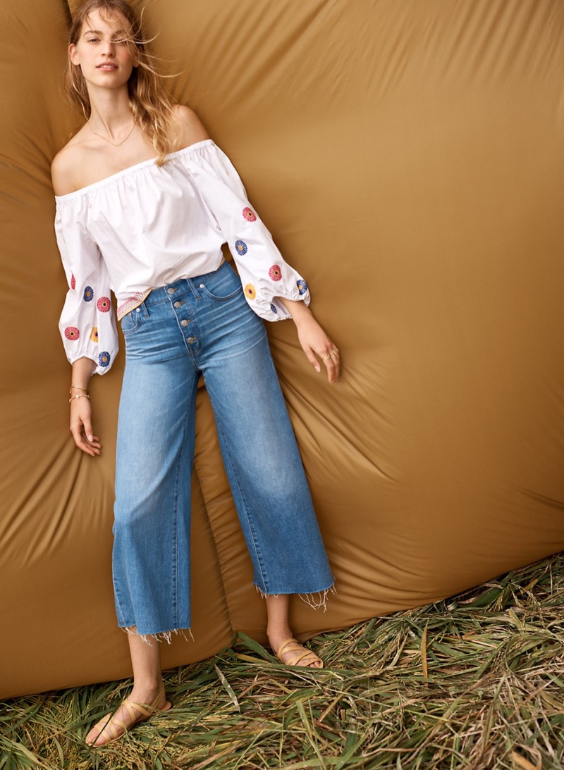 Madewell Embroidered Off-the-Shoulder Top, Wide-Leg Crop Jeans: Button-Front Edition and The Boardwalk Multistrap Sandal