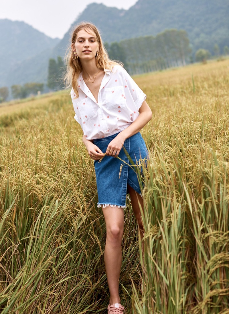 Madewell Embroidered Daisy Courier Shirt, Denim Wrap Mini Skirt and Mixed-Metal Enamel Earrings