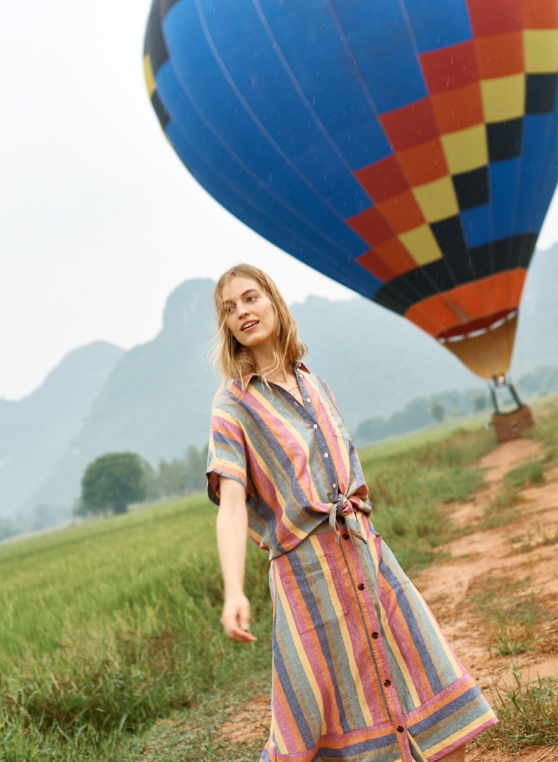 Madewell Short-Sleeve Tie-Front Shirt and Rainbow Stripe Midi Skirt