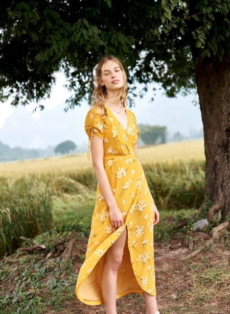 Madewell Silk Wrap Maxi Dress in Butterfly Garden and Pressed Petals Layered Necklace