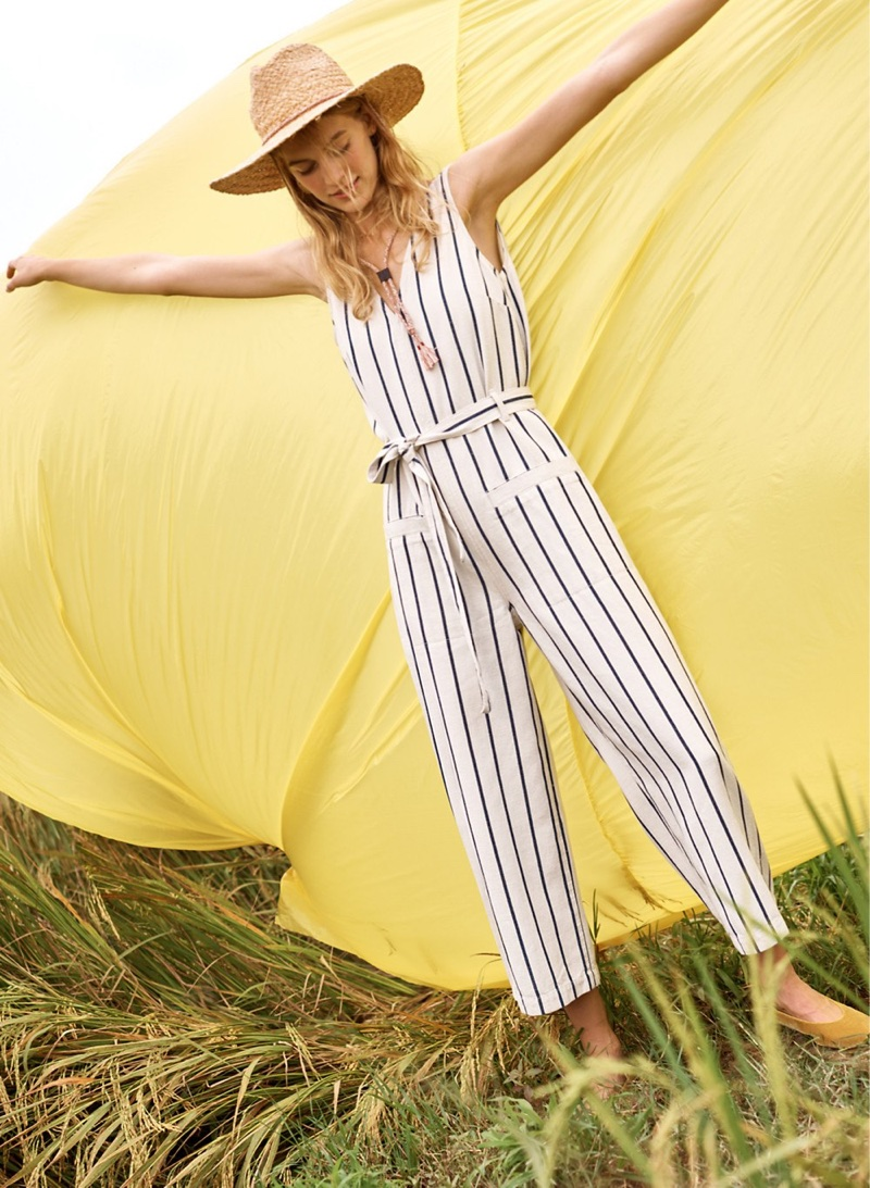 Madewell Striped Pull-On Jumpsuit, Madewell x Biltmore Braided Fedora Hat and The Sophia Fold-Down Flat in Velvet
