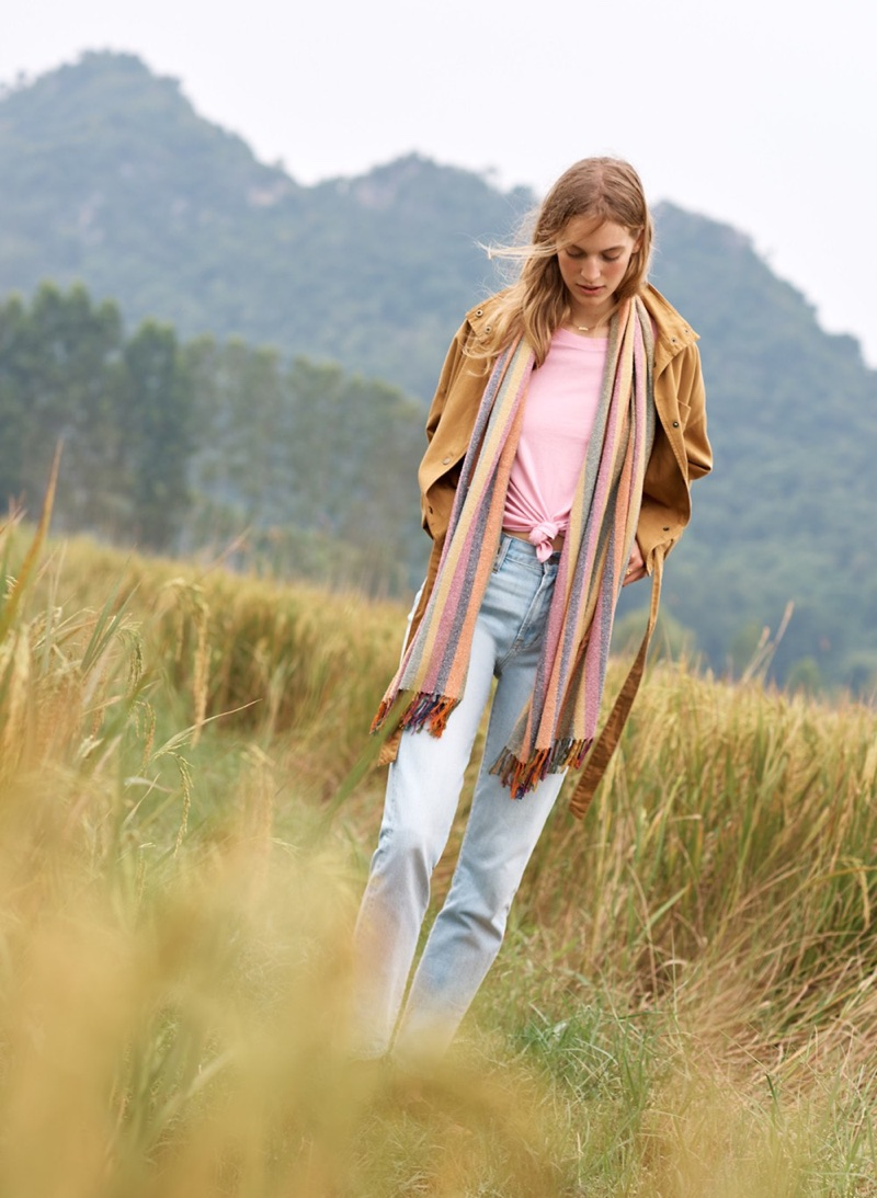 Madewell Southlake Military Jacket, Knot-Front Tee, The Perfect Summer Jean in Fitzgerald Wash and Rainbow Stripe Cape Scarf